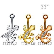 TT Crystal Gecko Belly Bar Ring Three Colour  (BL64)