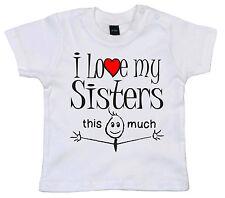 """Sister T-shirt Bebè """" I LOVE MY SISTER/Sisters This MOLTO """" BAMBINO Divertente"""