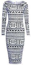 New Womens Striped Aztec Long Sleeve Ladies Bodycon Midi Dress Size 8 10 12 14
