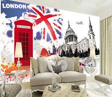 3D European City Phone Booth Wall Paper Wall Print Decal Wall Deco AJ WALLPAPER