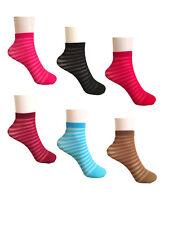 3/6 Pairs Ladies Sheer Ankle Socks Sheer Stripe Qualify Trouser Pop Socks UK 4-7