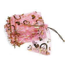 Schmuckbeutel 9x7cm bis 23x17cm Organza Beutel Geschenk Säckchen rosa gold Herz