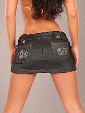 SeXy Miss Damen extrem Mini Rock Gogo schwarz jeans Look Steine Krone 32 34 36