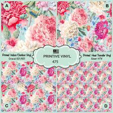 Vintage Floral Pattern Printed HTV,Adhesive Vinyl- 475