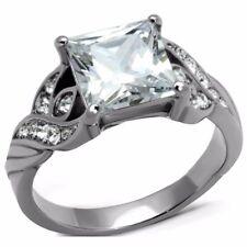 Big 8x8mm Princess Cut Clear CZ Stainless Steel Wedding Ring