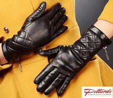 NEU! Schwarz Leder Lang Handschuhe mit Reißverschluss und wolle linen NEU!