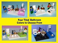 Tiled Bathroom Toilet Bath Sink Miniature Mini Doll House - MADE OF LEGO BRICKS