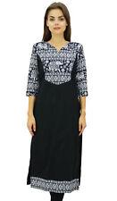Phagun Women's Cotton Designer Kurta Black Tunic Ethnic 3/4 Sleeve Kurta