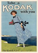 Fashion Lady Girl Beach Take Kodak Camera with You Vintage Poster Repro FREE S/H