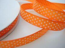 "25 yard Grosgrain Ribbon 3/8"" Polka Dot/Polyester/Bright R14-Orange FREE US SHIP"