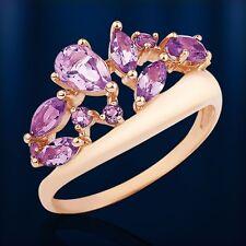 Russian solid rose gold 585 /14ct amethyst Ring NWT Beautiful кольцо с аметистом