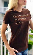 Tommy Hilfiger NEW Brown Women's Crew Neck Diamonds Logo Tee Shirt $9.99