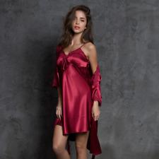 Women Satin Short Wrap Robe Dress Chemise Set Sleepwear Nightdress Lingerie