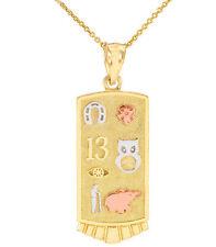 14k Tri-Tone Gold Lucky Owl Elephant Horseshoe Flower Evil Eye Clover Necklace