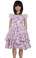 NUEVO LILA para niñas Vestido Fiesta Verano Floral De 3A 7 años