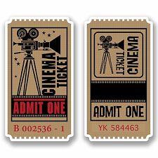 2 x 10cm Retro Cinema Ticket Vinyl Stickers Decals Laptop Movie Lover Fun #9810