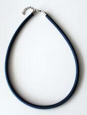 NUEVO Joya Moderna Unisex Azul COLLAR CON CINTAS DE TELA mosquetón 46cm x 6mm