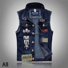 Punk Men Sleeveless Washed Denim Motorcycle Jeans Motorcycle Jacket Vest Coat