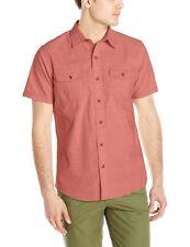 G.H.BASS Rock River Tandori Spice Solid Short Sleeve Casual Men's Shirt L, XL