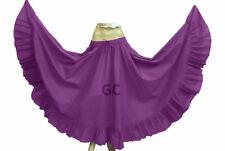 Medium Purple Cotton Gypsy Flamenco Skirt 12 Yard Belly Dance Tribal Jupe Boho