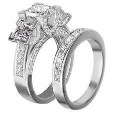 925 silver Filled White Sapphire Set Crystal Wedding Gemstone Jewellery Rings