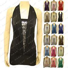 Women Sequin Glitter Halter Neck Top Ladies Stretch Sleeveless Boob Tube Shirt