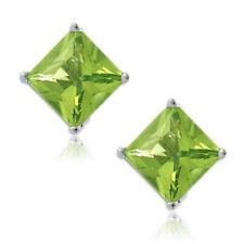 Peridot Square Princess Cut CZ Crystal WG Plated Sterling Silver Stud Earrings