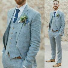 Blue Men Cotton Linen Suit Groom Tuxedo Bridegroom Wedding Party Suit Custom
