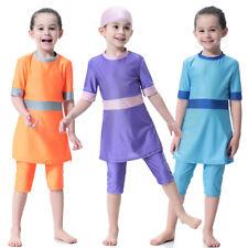 Kids Girls Full Cover Swimwear Muslim Modest IsIamic 3PCS Swimsuit Beachwear Set