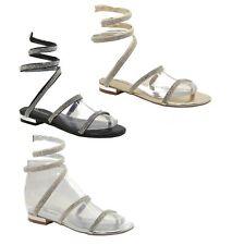 Femme Designer Spirale Strass Sandales Plates