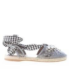 MIU MIU women shoes Silver tone napa leather sandal crystals studs ribbon tie