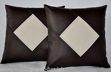 """2 Brown & Cream Diamond in finta pelle Cuscino Copre 16"""" 18"""" 20"""" Cuscini a Dispersione"""