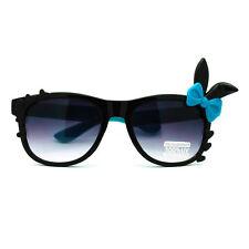 Bunny Ear Bow Trim Horn Rim Rectangular  Sunglasses