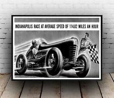 Indianapolis motor racing poster, wall art, reproduction.