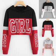 Women Long Sleeve Print Hoodie Sweatshirt Jumper Hooded Pullover Crop Top Blouse