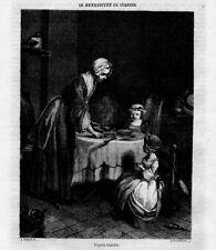 Stampa antica LA COLAZIONE BENEDETTA Chardin 1848