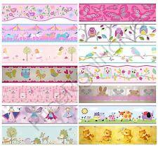 Le ragazze camera da letto generiche Carta da parati bordi Farfalla Fiori Birds Wall Decor Kids