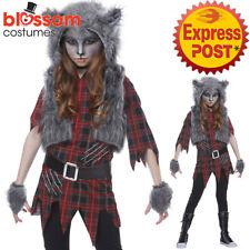 CK1263 Brown Werewolf Girl Child Wolf Halloween Horror Scary Fancy Dress Costume