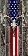 Oak camo american flag deer skull hunting Cornhole game decal wrap