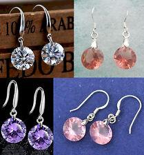 Clear White Pink Purple Orange Zircon Crystal Drop Dangle 925 Silver Earrings