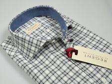Camicia Pancaldi a Quadri Grigio Slim Fit Cotone Flanella rasata collo francese