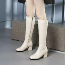 women Riding Boots Block High Heels Knee High Boots Chunky Zip Shoes Plus sz