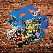 Sticker mural trompe l'oeil mur de pierre déco Poisson tropicaux  réf 885