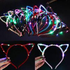 Girls Cosplay Costume LED Cat Ear Flashing Headband Party Glowing Headwear NEW