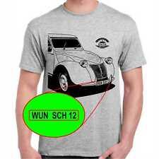 Citroen ENTE 2CV Citroën T-Shirt Emblem Wunschtext Kennzeichen möglich
