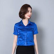 Women Faux Silk T Shirts Satin Tops Short Sleeve Blouse Shiny Glitter Tee New
