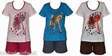 Schöner Shorty Schlafanzug Pyjama mit Motiv,3 Farben,Baumwolle, Gr. S-XL (36-50)