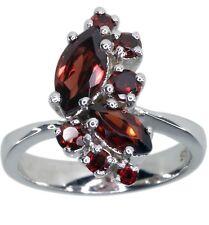 Garnet Gemstone Cluster Sterling Silver Ring