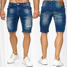 Mens Bermuda Jeans Shorts Stretch Denim Capri Ripped Holes Cracks Summer Pants