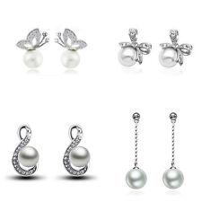 Elegant White Pearls Silver Tone Women Wedding Bridal Bride Stud Drop Earrings